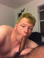 Back when I had dyed my hair green. HUGE cock ??